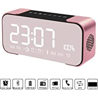 Bluetooth Speakers, Hi-Fi Portable Wireless Stereo Speaker with Alarm Clock,Build-in Mic,FM Radio,LED Light,Hands-free,Two Subwoofer Enhanced Bass Surround Sound for iPhone Samsung Mac Computer (Rose Gold)