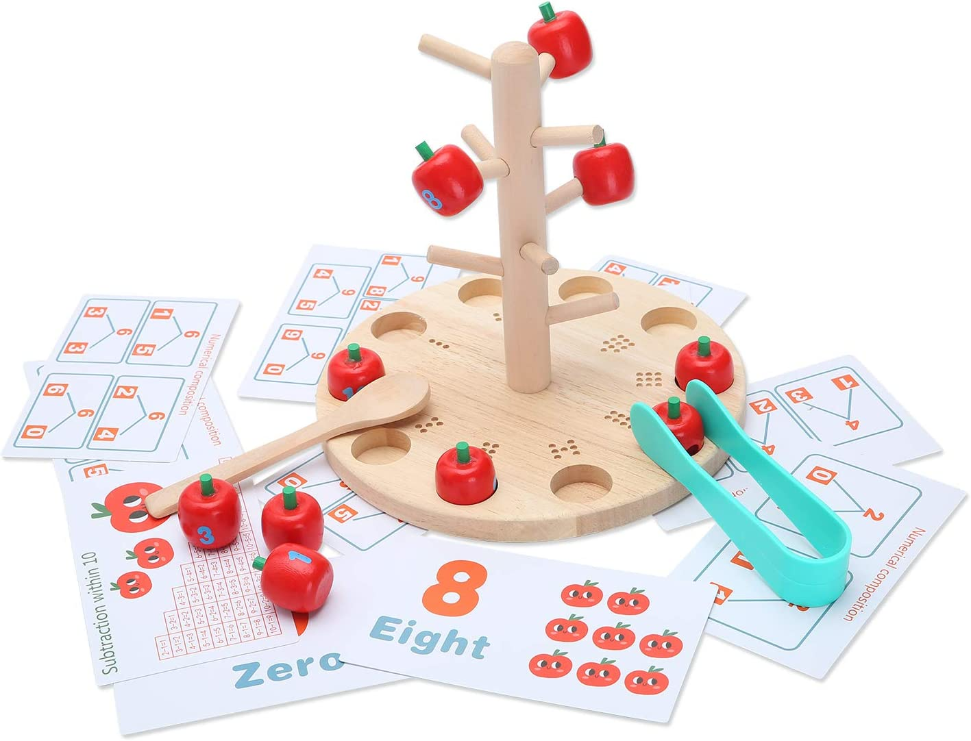 Tangame Wooden Apple Tree Math Picking Game Montessori Digital Cognitive Toys Fine Exercises Children's Addition and Subtraction Calculation Learning aids Gifts for Boys and Girls Over 2 Years Old