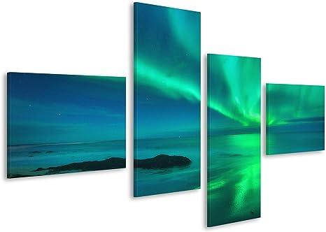 Bild Bilder auf Leinwand Aurora auf dem Meer Nordlichter in Lofoten-I JTW
