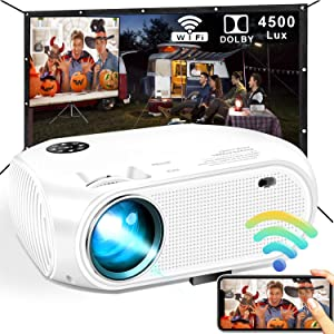 WiFi Projector, DIWUER 2020 4500 Lux Mini Portable Projector for Outdoor Movies, Support Wireless/ USB Cable Mirroring, Compatible with TV Stick, PS4, iPhone, Android, Windows
