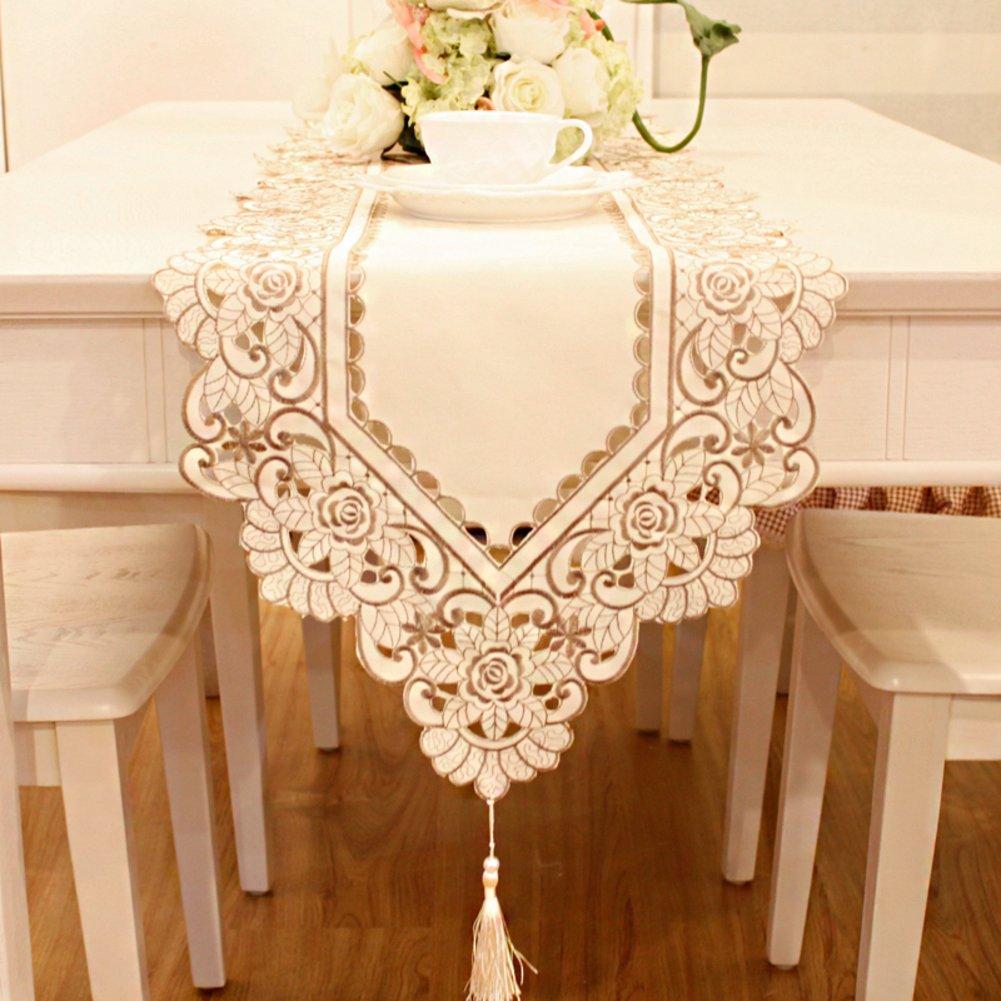 Tre Teaテーブルランナー/ベッドランナー/テーブルランナー/オープンワーク刺繍ファブリック 40x265cm(16x104inch) LOASKKA 40x265cm(16x104inch) A B01N112OFI