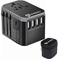 International Adapter for Travel, Dual Voltage Hair Dryer, Straightener, Curling Iron Travel Adapter with 5 Fast USB…