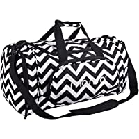 MOSISO Water Resistant Gym Sports Dance Travel Weekender Duffel Bag with Shoe Compartment, Chevron Black