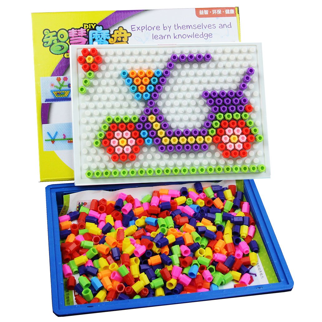 RIKKO Button Art Color Matching Mosaic Pegboard | Portable Tray Carry Case Great Travel Game | Early Learning Educational Toys for Boys and Girls