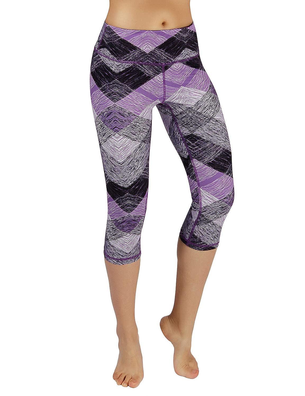 Printcapris926sketchedchevron ODODOS High Waist Out Pocket Printed Yoga Capris Pants Tummy Control Workout Running