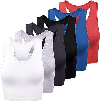 FEPITO 6 Piezas Blusas básicas para Mujer Camisetas sin Mangas Deportivas de algodón Top sin Mangas con Cuello en v Camisas de Entrenamiento Camisetas sin Mangas para Mujeres, pequeñas y Medianas: Amazon.es: