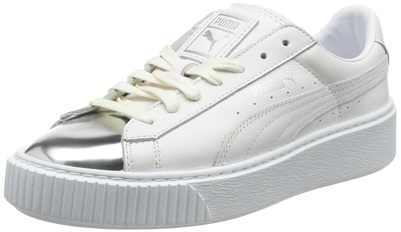 Puma Basket Platform Metallic, Zapatillas para Mujer 39 EU Blanco (White- Silver)