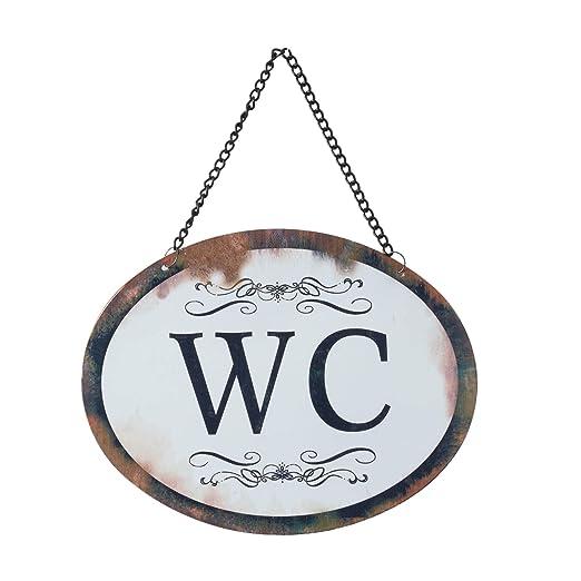 CE WC, inodoros, Cartel de Metal, Ovalado con Cadena, Blanco con Texto Negro, Estilo Retro Vintage, Dimensiones 17 x 13 cm, Aspecto Antiguo