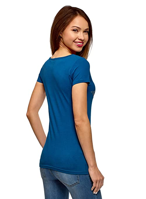 oodji Ultra Mujer Camiseta con Estampado Estrella de Pedrería