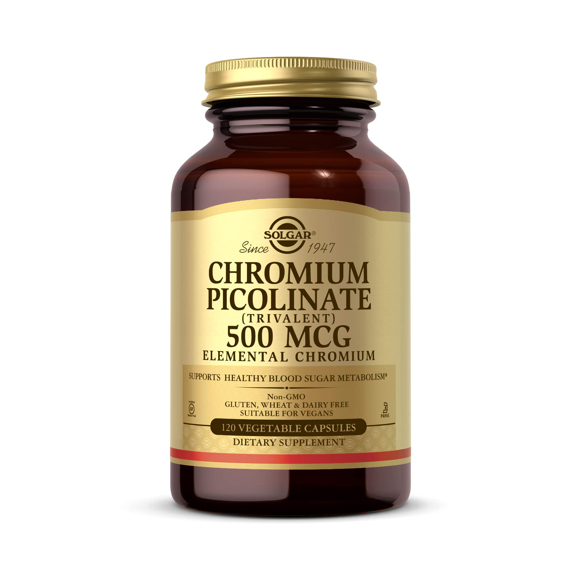 Solgar Chromium Picolinate 500 mcg, 120 Vegetable Capsules - Supports Energy - Supports Healthy Blood Sugar Metabolism - Vegan, Gluten Free, Dairy Free, Kosher - 120 Servings