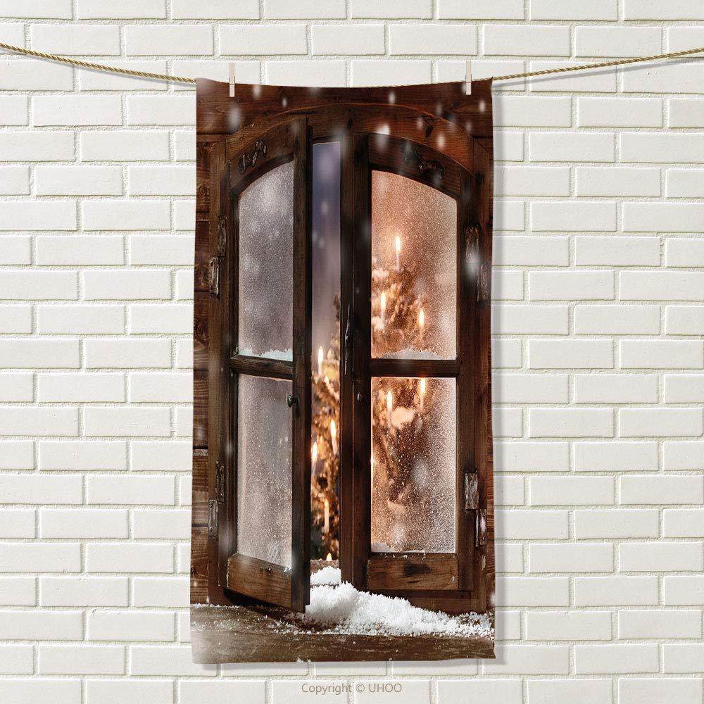 smallbeefly Winter Sports Towel Close up Snow on Vintage Wooden Christmas Window Pine Christmas Tree Inside Cabin Absorbent Towel Size: W 35.5'' x L 20''