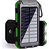 Solar Phone Charger, Solar Power Bank, 10000 mAh Portable Power Bank Solar Battery Charger Dual USB Waterproof 2 Led Light Flashlight Compass(Green)