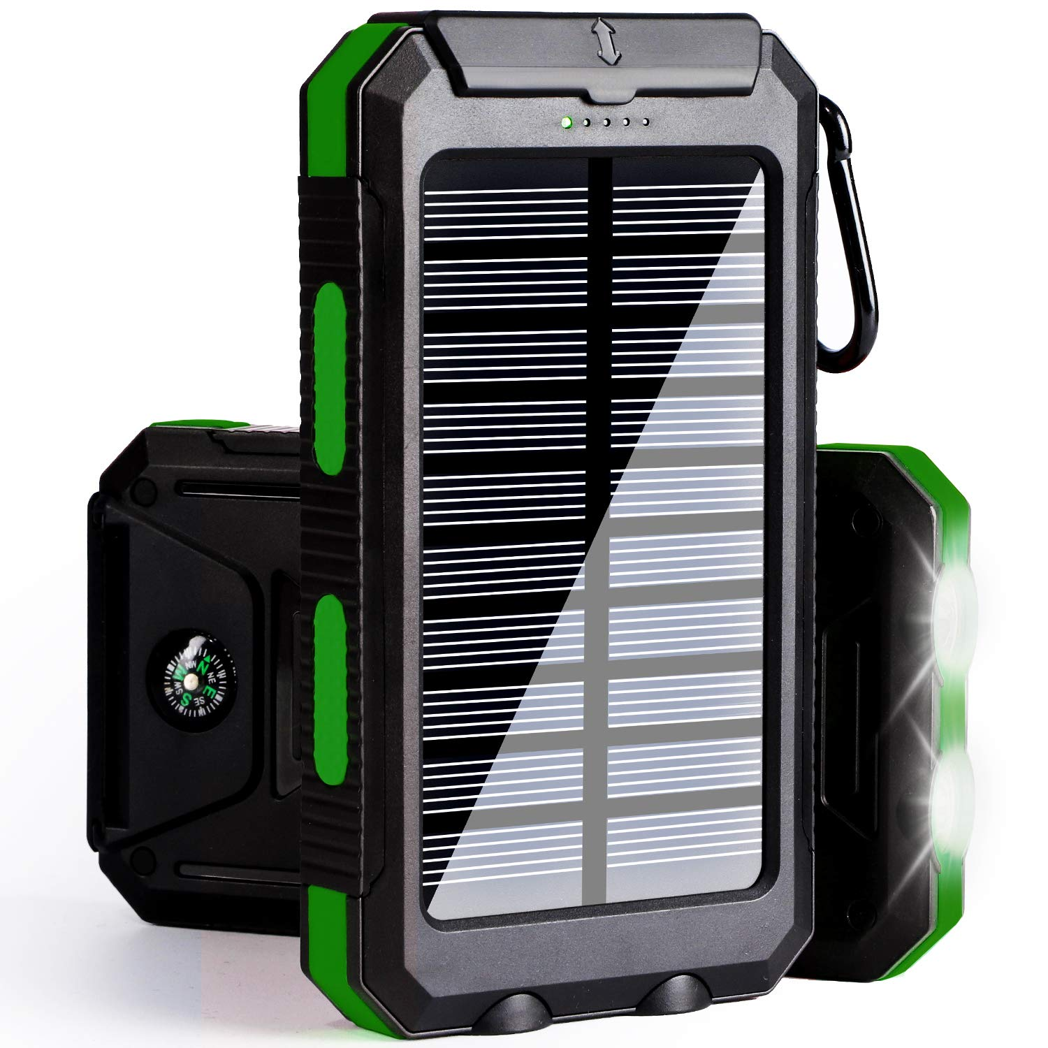 DEVEL Solar Phone Charger, Solar Power Bank, 10000 mAh Portable Power Bank Solar Battery Charger Dual USB Waterproof with 2 Led Light Flashlight Compass for iPhone, ipad, Samsung (Green)