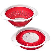 Scolapasta pieghevole da 5000ml - Scaldavivande da cucina resistente e resistente al calore Cestello a vapore per pasta e frutta vegetale - Presa da cucina in silicone senza BPA con manici - Lavabile in lavastoviglie - Rosso