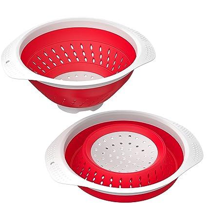 Colador plegable de 5000 ml - Heavy Duty plegable y resistente al calor  Cocina Drainer Cesta 1085028d0fd1
