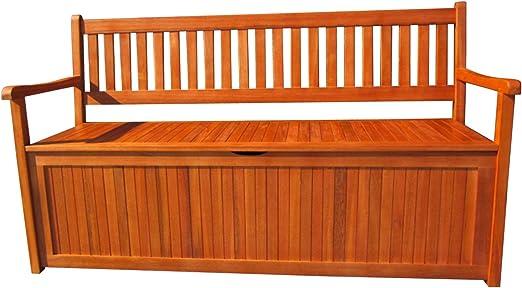 Baúl Banco de parque banco de jardín Asiento banco 3 plazas, 150 cm madera de acacia FSC barnizada novedad 98456: Amazon.es: Jardín