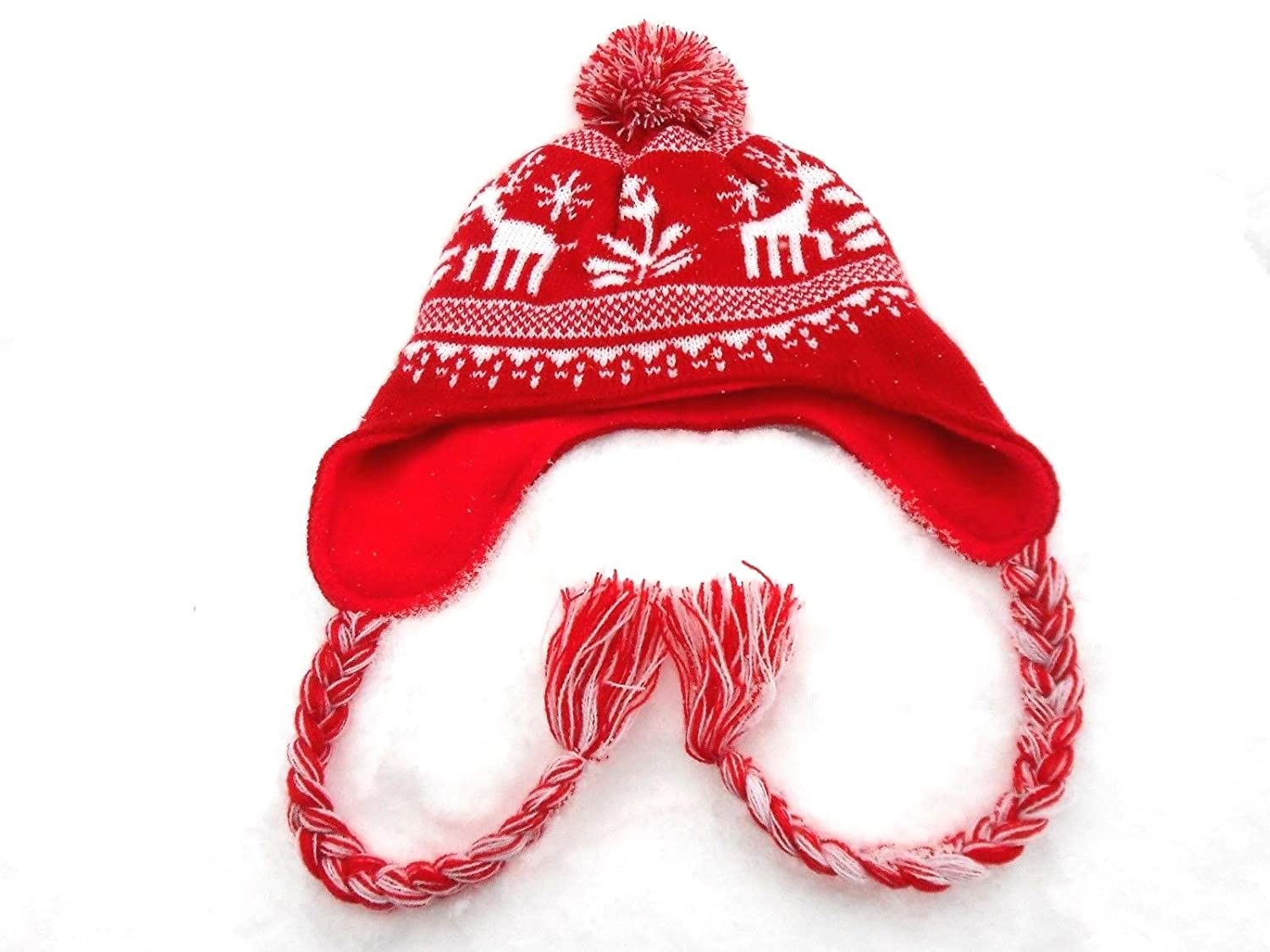 Amazon.com  Red   White Knit Reindeer Winter Hat  Clothing 833134431df
