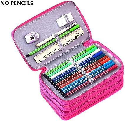 Estuche YIMOJI de gran capacidad, 72 ranuras, multicapa, para lápiz, goma de borrar, regla para estudiantes niños y niñas, artistas (no incluye lápices), color rosa rojo: Amazon.es: Oficina y papelería