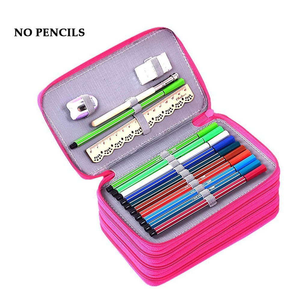 YIMOJI Large Capacity Pencil Case, 72 Slots Multi-layer School Stationery Pencil Eraser Ruler Bag for Student Boys and Girls, Artists (No Pencils)