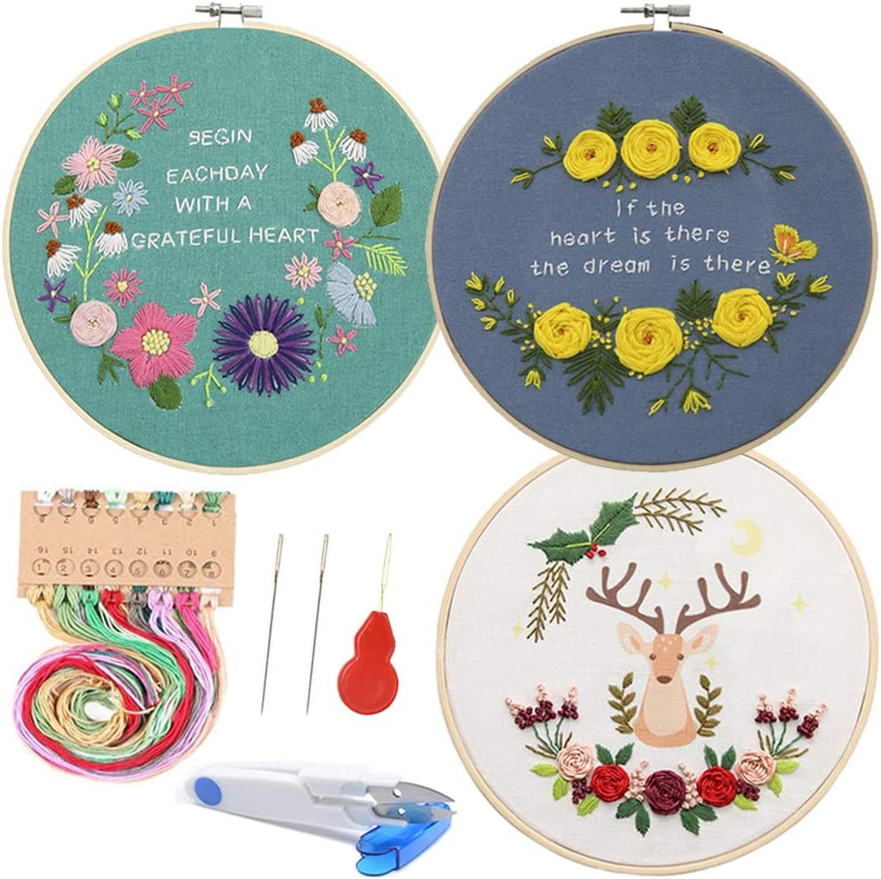 3 Pack Embroidery Starter Kit Embroidery Model, Include Pattern and Instructions, Full Range of Embroidery Tools, 3 Bamboo Embroidery Hoop, Color Threads Needle Kit (Flowers- Rose - Deer)