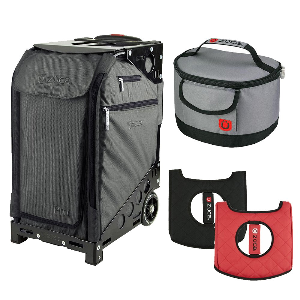Zuca Graphite Gray Pro Artist Case w. Black Frame, Gift Seat Cushion + Lunchbox by ZUCA