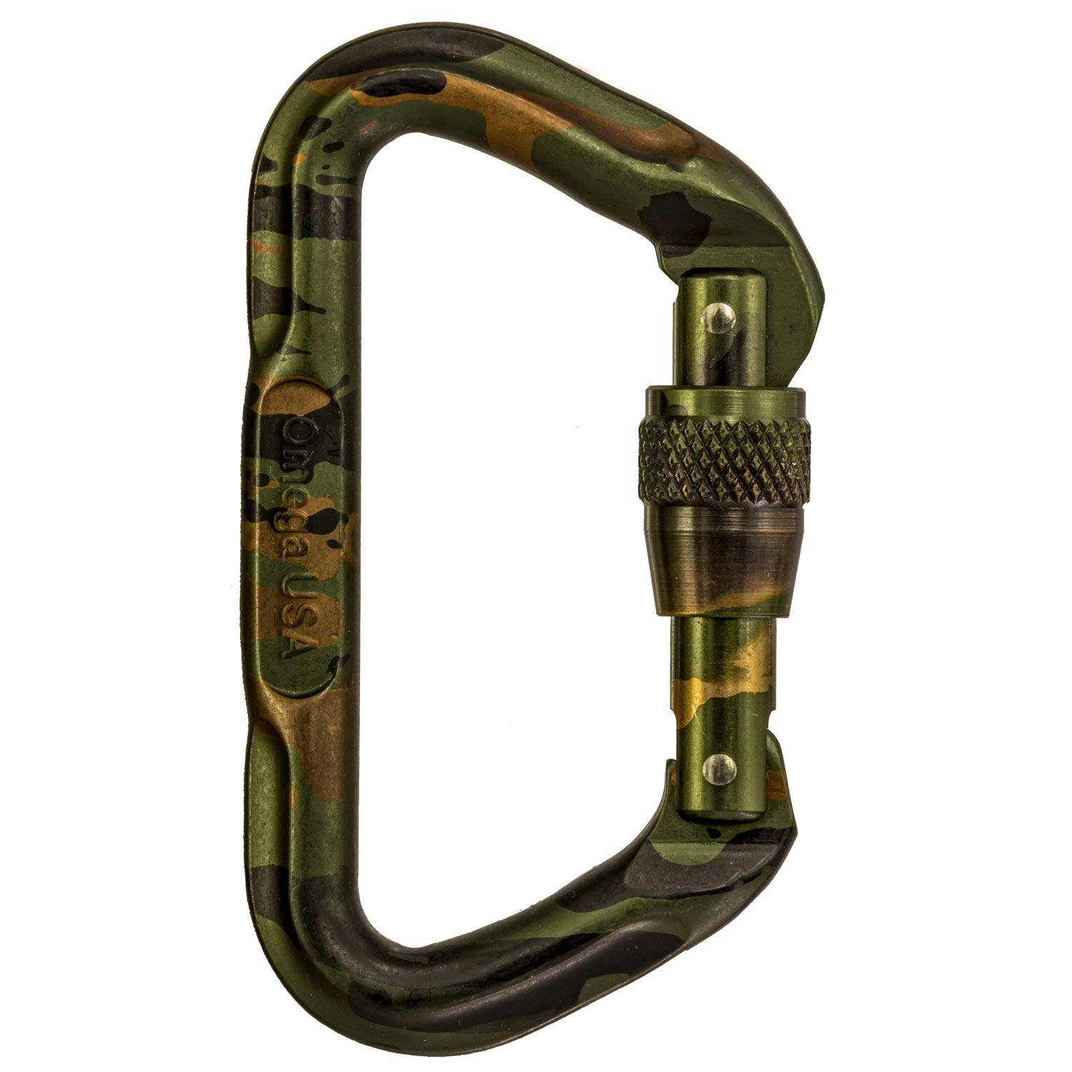 Omega Pacific Carabiner D, Screw Locking, Camouflauge, USA Made, ISO Cold Forged Aircraft Aluminum Alloy for Climbing, Safety, Rescue, Industrial, and Arborist Uses