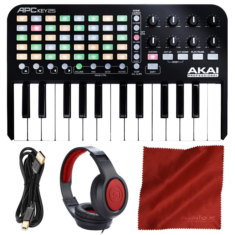 Akai Professional APC Key 25 - Ableton Live Controller with Keyboard + Headphones + Accessory Bundle
