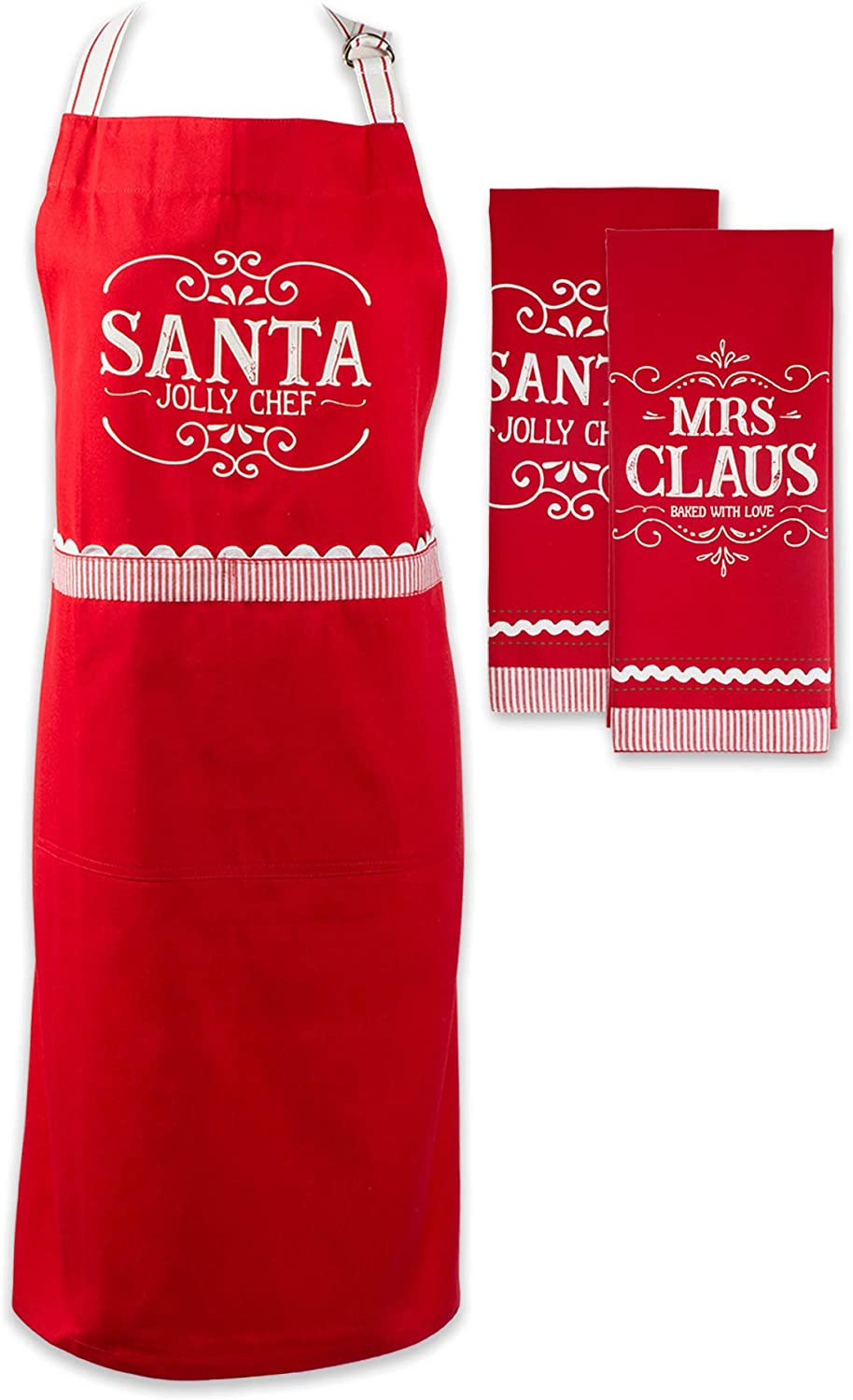 DII North Pole Holiday Chef Collection, Kitchen Set, Mr. Claus 3 Piece