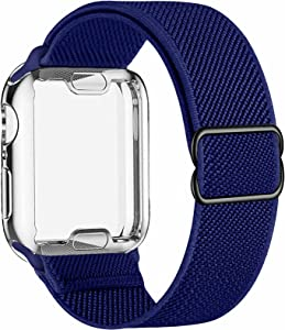 ADWLOF Stretchy Solo Loop with Screen Protector Case Compatible with Apple Watch Bands 44mm,Adjustable Braided Sport Nylon Elastics Men Women Compatible with iWatch Series 6/5/4/3/2/1,SE,Royal Blue