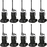 Retevis RT7 Two Way Radio UHF 5W 16 Channels FM Single Band Walkie Talkie Radio with UK Plug Charger and Headset (Black,10pcs)