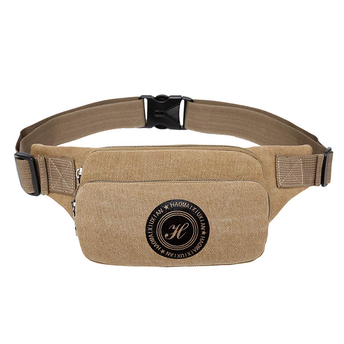 Multifunction Bumbag Fanny Packs 3 Zip Large Capacity Pockets Running Hiking Outdoor Sport Waist Bag Money Hip Pouch Pack for Men Women,Khaki,17713cm