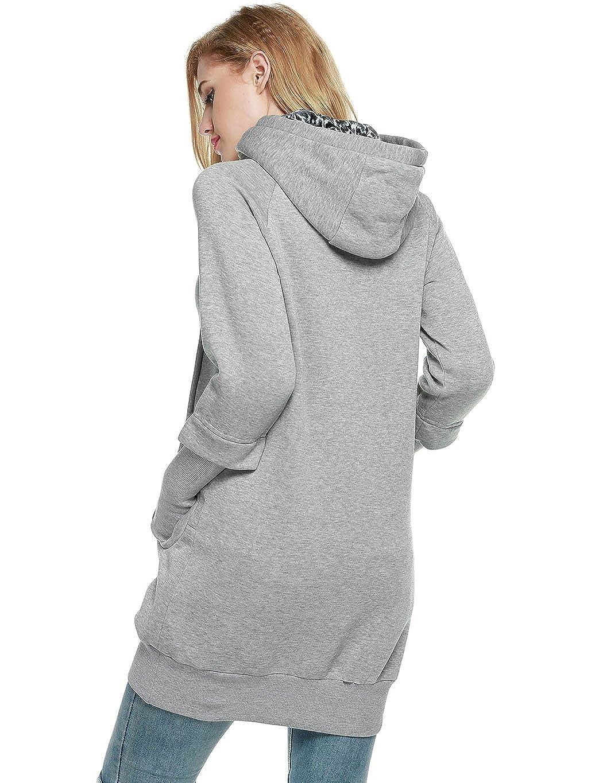 SFY Women Winter Leopard Prints Pockets Hoodie Long Sport Sweatshirts