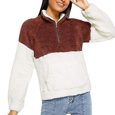 Sudaderas Mujer, TWBB Mujeres Felpa OtoñO Invierno Tops De Gran TamañO Mullidas Sudadera De Lana Outwear: Amazon.es: Ropa y accesorios