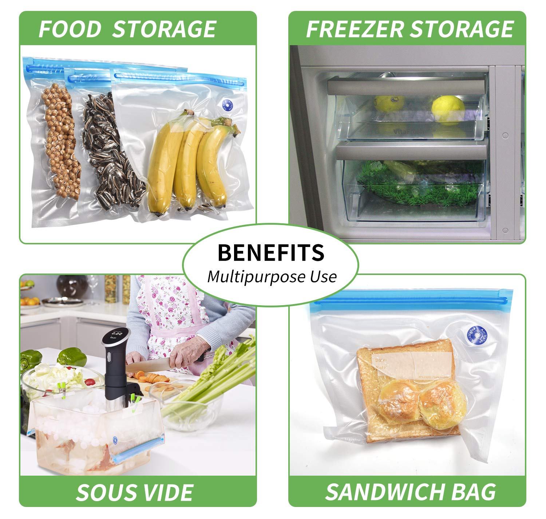 approbation de la FDA et BPA gratuity Kit de Sac Sous Vide Alimentaire avec Pompe Manuelle pour la conservation des aliments et la cuisson sous vide Sac sous vide alimentaire r/éutilisable