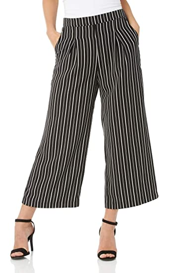 edc2bba164063 Roman Originals Femme Pantalon Jupe-Culotte Elegant Rayures - Retro Vintage  Taille Haute Décontracté Chic Classe Jambe Large Palazzo - Noir: Amazon.fr:  ...