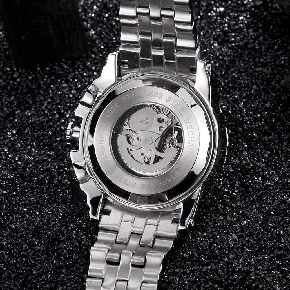 Automatisk, mekanisk herrarmbandsur, helt stål, silver, guld, skelettarmbandsur, självuppdragande, stort urtavla armband B b