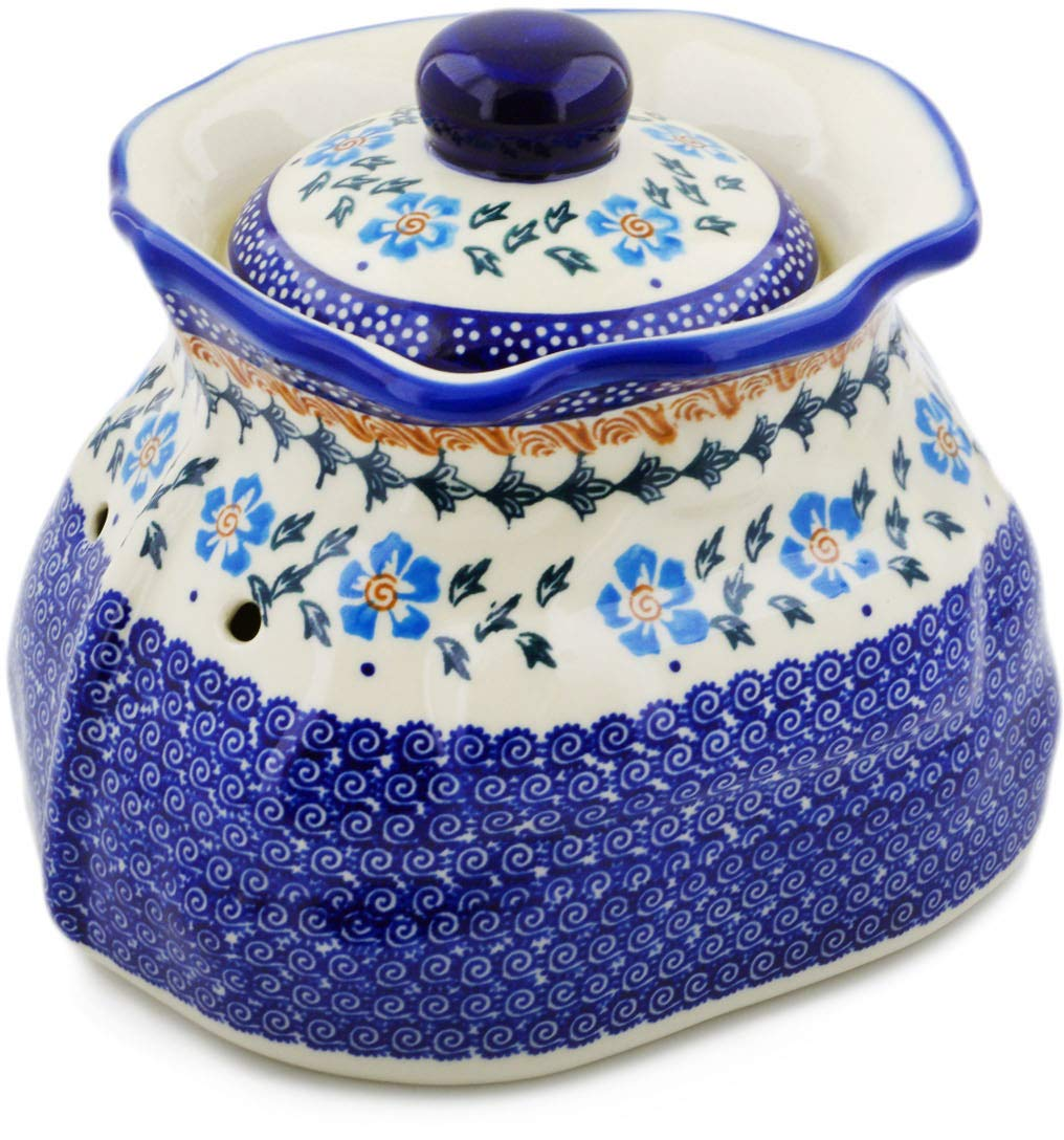 Polish Pottery 9¼-inch Garlic and Onion Jar (Blue Cornflower Theme) + Certificate of Authenticity by Polmedia Polish Pottery