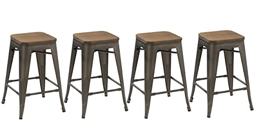 BTEXPERT 24-inch Industrial Metal Vintage Antique Copper Rustic Distressed Counter Height Bar Stool Modern - Handmade Wood top'seat Set of 4 Barstool