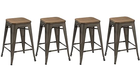 BTEXPERT 24-inch Industrial stacking Tabouret Metal Vintage Antique Copper Rustic Distressed Dining Counter Bar Stool Modern – Handmade Wood top seat Set of 4 barstool