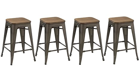 BTEXPERT 24 Inch Industrial Metal Vintage Antique Copper Rustic Distressed  Counter Bar Stool Modern