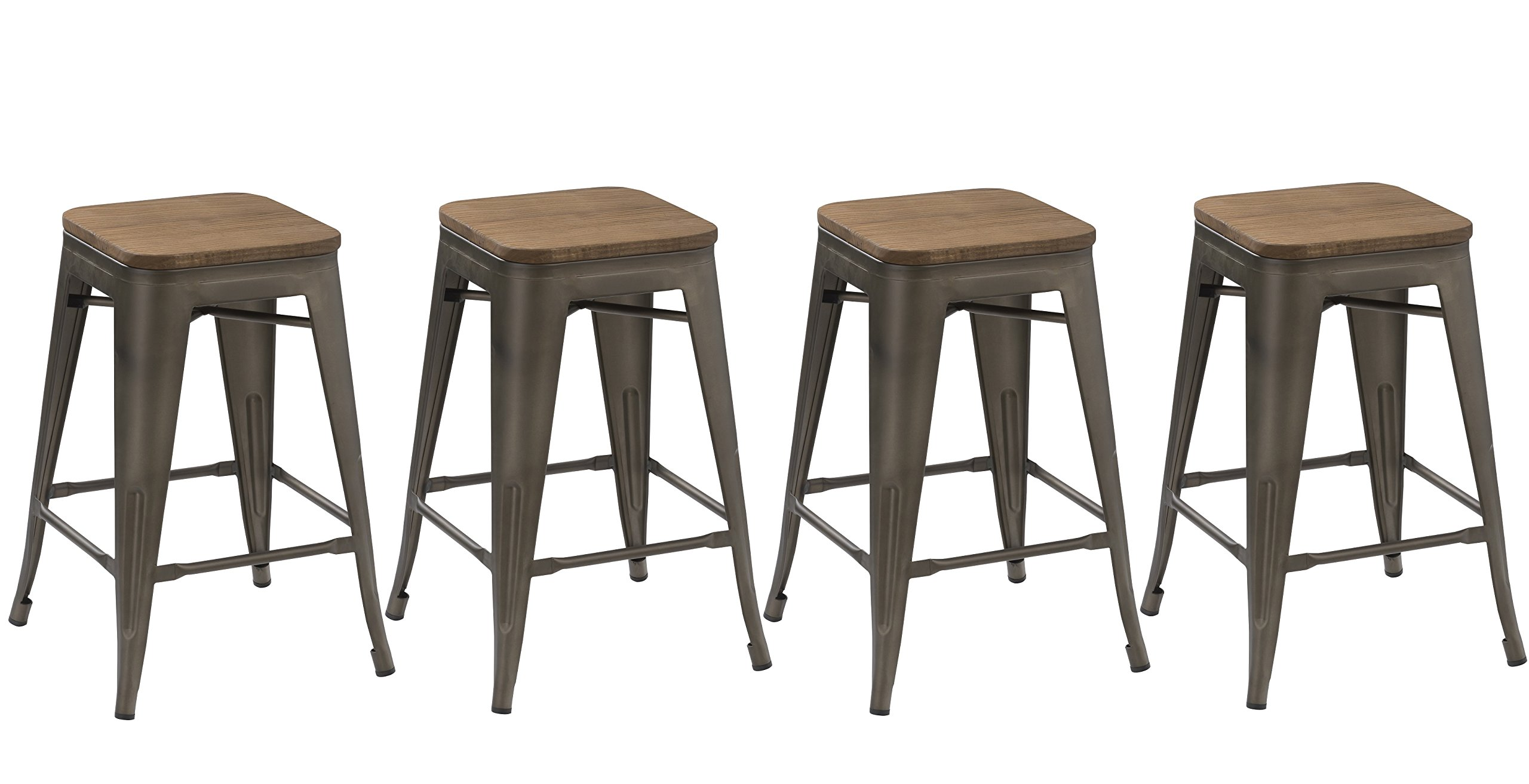 BTEXPERT 24-inch Industrial Metal Vintage Antique Copper Rustic Distressed Counter Height Bar Stool Modern - Handmade Wood top seat(Set of 4 barstool)
