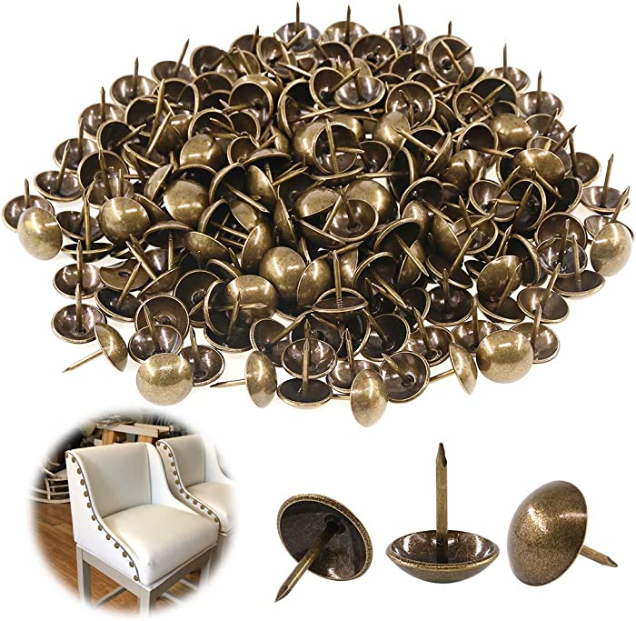 "Keadic 250Pcs [ 5/8"" in Diameter ] Antique Upholstery Tacks Furniture Nails Pins Assortment Kit for Upholstered Furniture Cork Board or DIY Projects - Bronze"