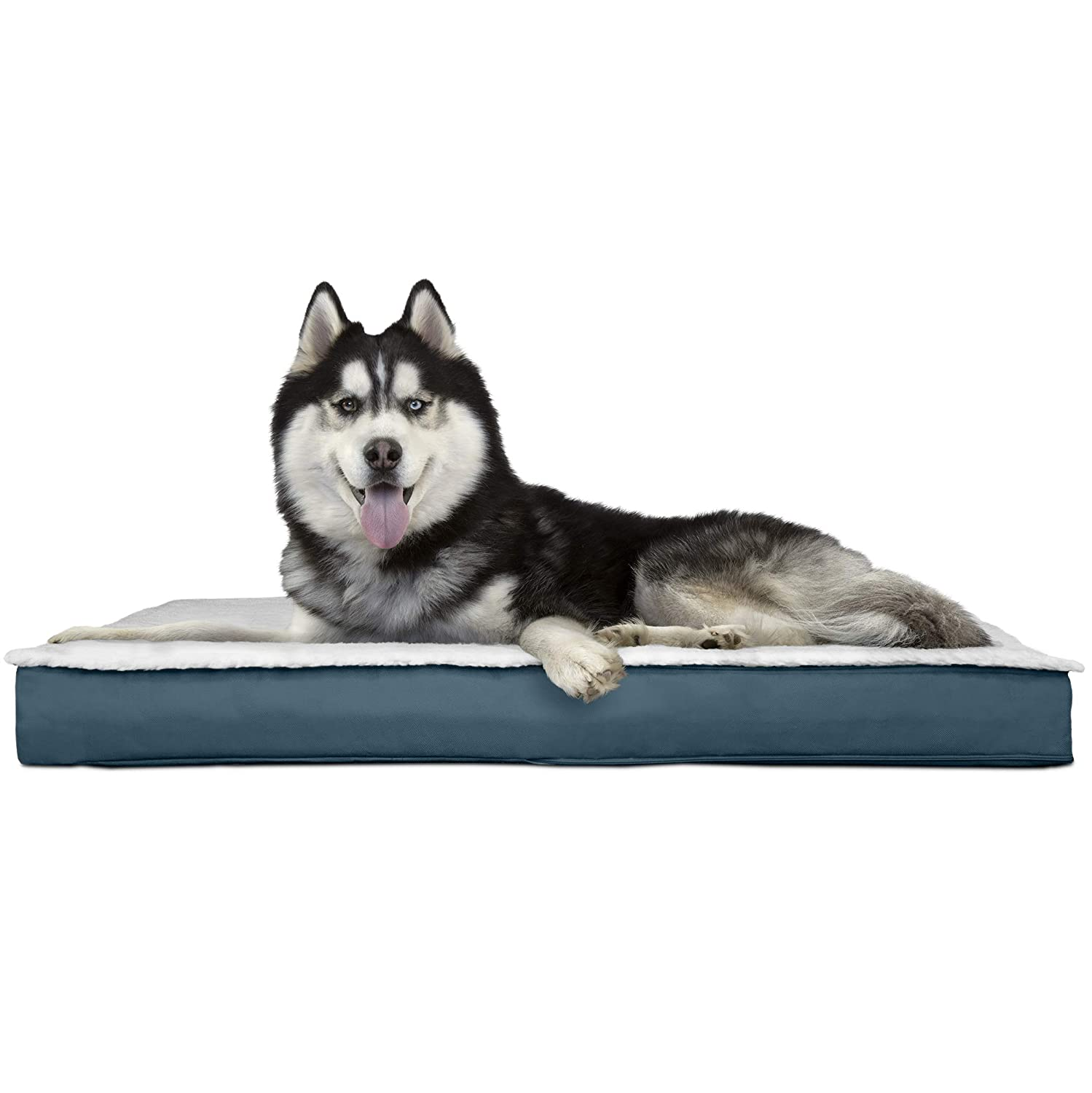 FurHaven Pet Dog Bed   Orthopedic Congreenible Sherpa Panel Outdoor Mattress Pet Bed for Dogs & Cats, Marine bluee, Jumbo