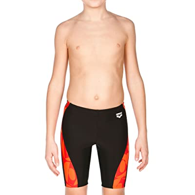 Arena Swim 2A884 Boys' Gallery Panel Jammer, Black,Red,Mango - 24