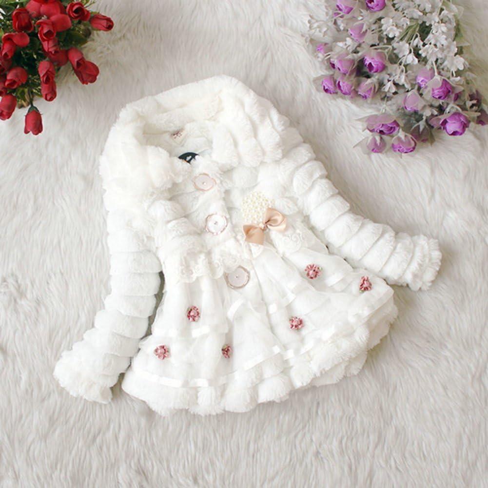 Metee Dresses Baby Girls Outwear Faux Fur Jacket Lace Flower Warm Coat