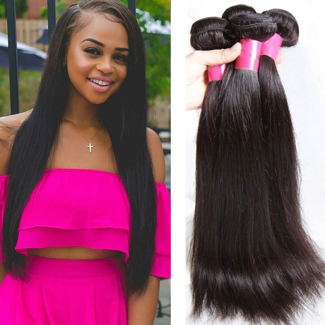 YIROO Brazilian Virgin Straight Hair Weave 3 Bundles 7A 100% Unprocessed Brazilian Virgin Human Hair Weave Extensions Natural Color 95-100g/pc (8 10 12 inch)