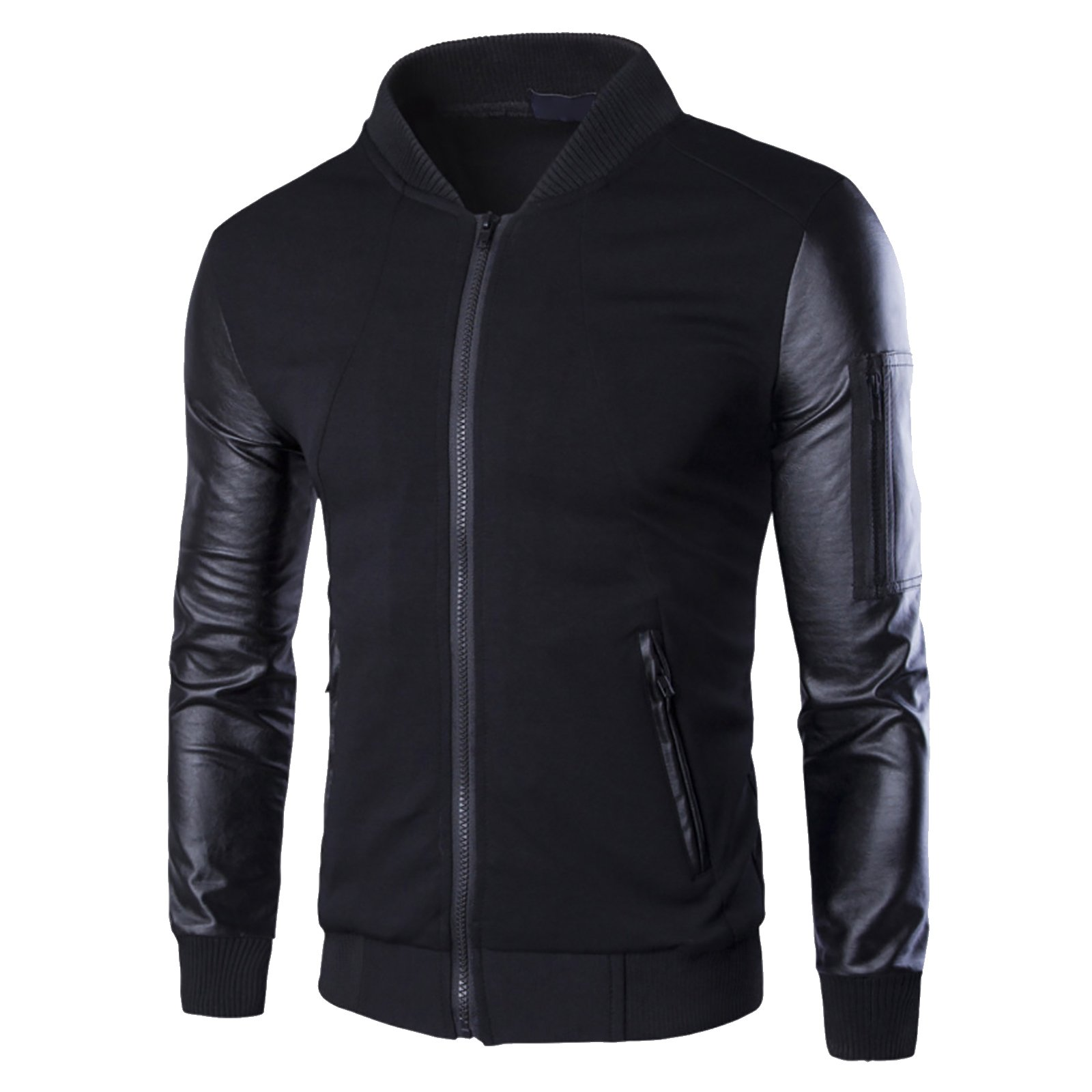 Elonglin Mens Pilot Jacket Long Sleeve Faux Leather Black US L (Asian 3XL)