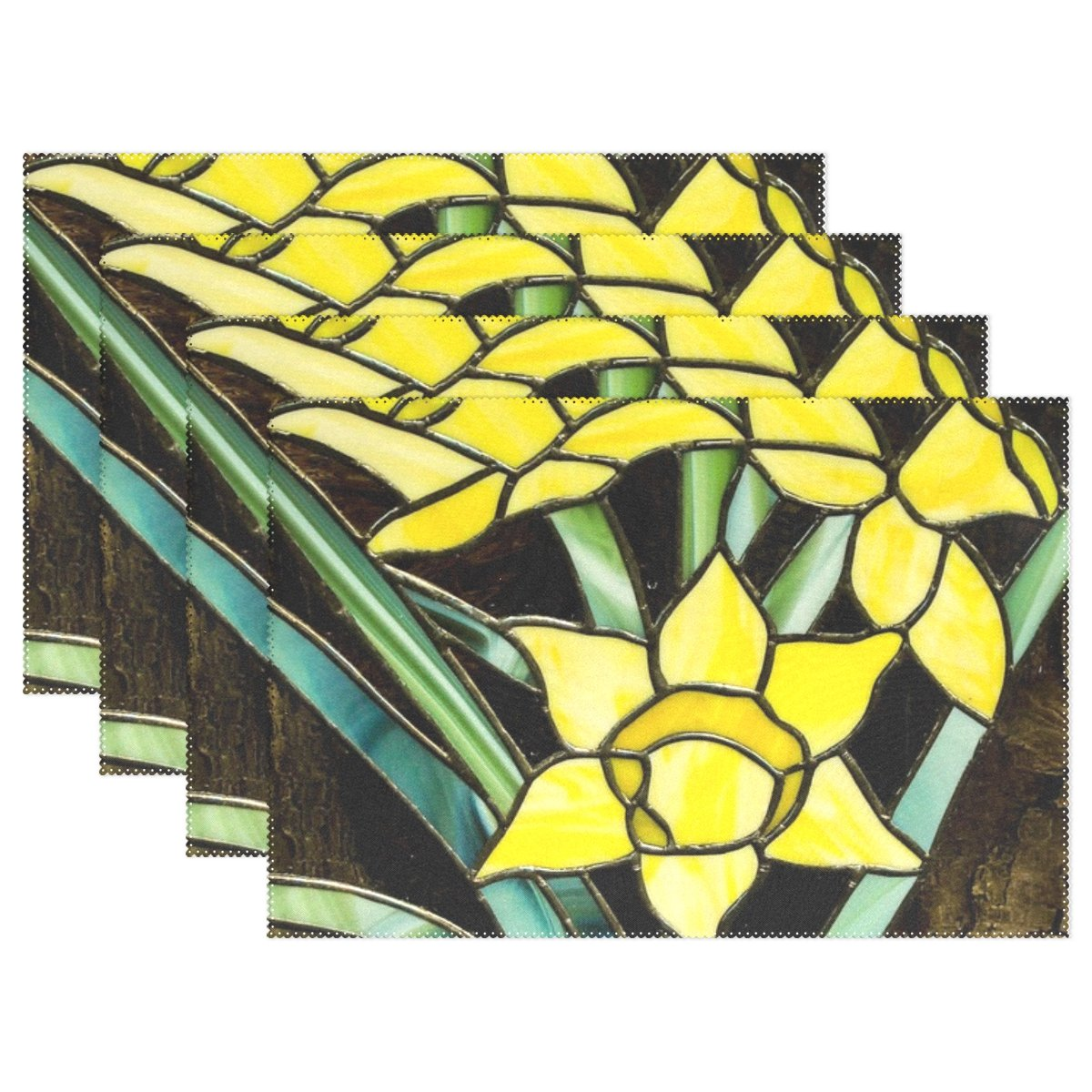 JTMOVING Stained Glass Window Yellow Flowers Pattern Placemats Set of 4 Heat Insulation Stain Resistant for Dining Table Durable Non-Slip Kitchen Table Place Mats