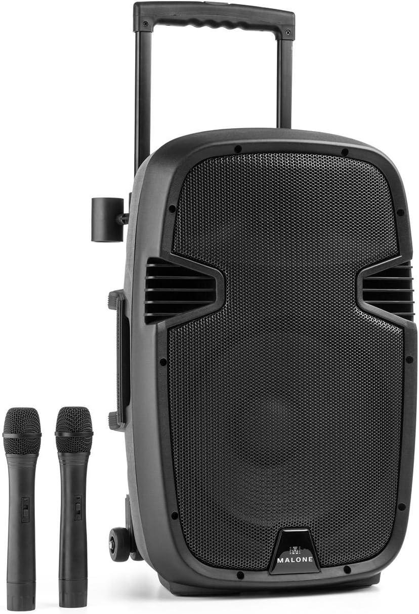 Malone Buschfunk 30 - Altavoz activo de 2 vías , Sistema PA móvil , 350 W , Subwoofer 30 cm , Tweeter 2,5 cm , Receptor VHF , Amplificador clase A/B , Bluetooth , USB/SD , AUX/Line , Batería , Negro