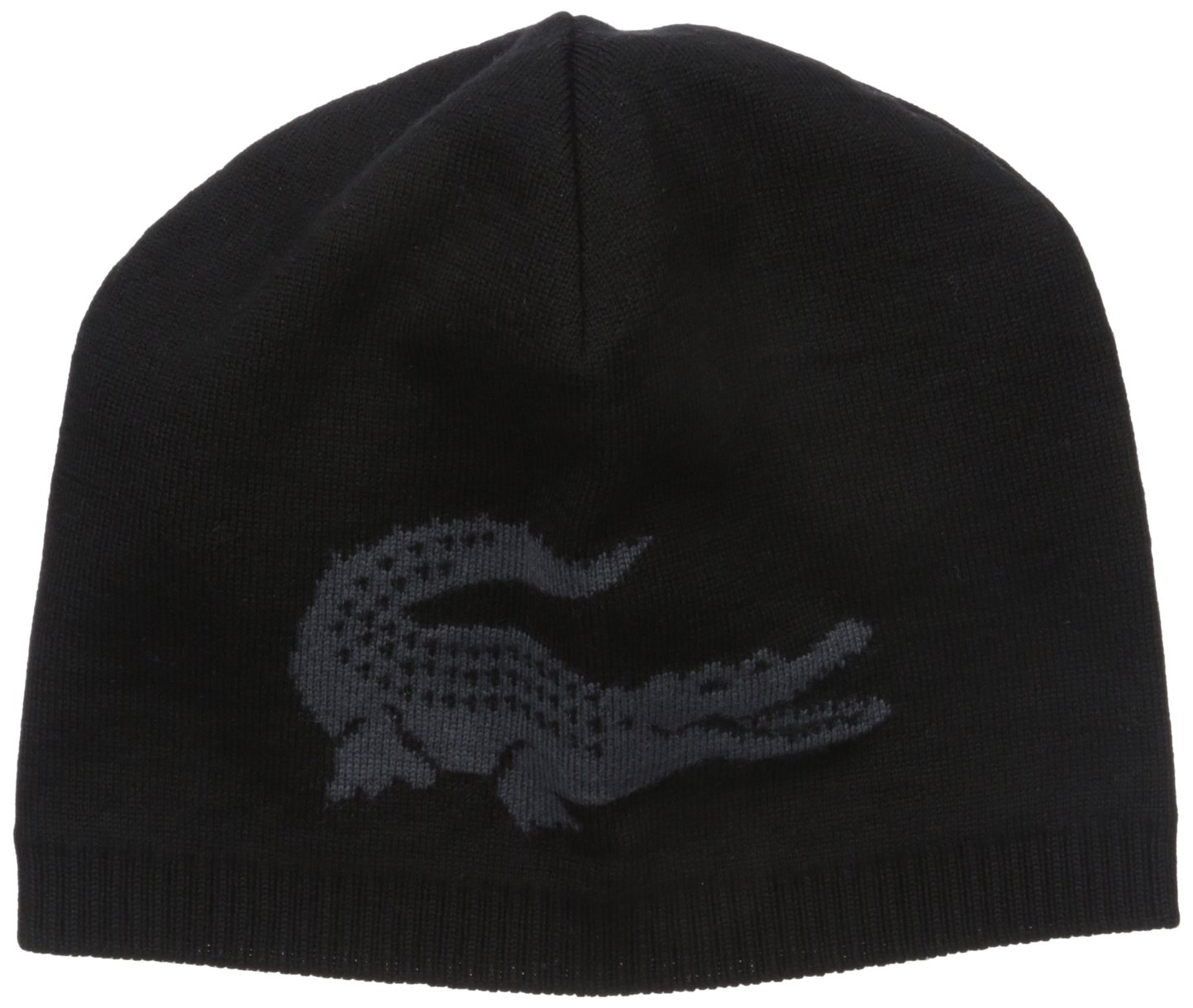 Lacoste Men's Big Crocodile Jacquard Reversible Wool Beanie, Black/Graphite, One Size